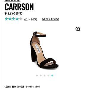 Steve Madden black suede Carrson heel sz 7.5